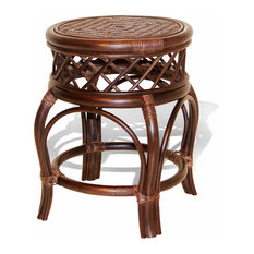 Ginger Handmade Rattan Wicker Stool, Dark Brown