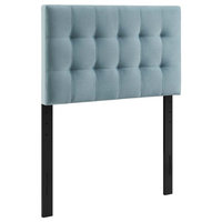 Lily Biscuit Tufted Twin Performance Velvet Headboard, Light Blue