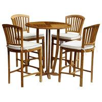 5-Piece Round Teak Wood Armless Orleans Bar Table/Chair Set With Cushions