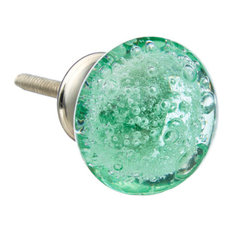 Green Bubbles Glass Knobs, Set of 8
