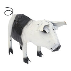Recycled Metal Standing Pig, Black and White