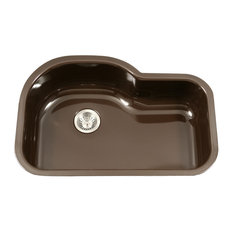 "Porcela Series Offset Single Kitchen Sink, 31"", Espresso"