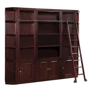 Parker House Boston 5 Piece Bookcase Wall With Ladder, Merlot