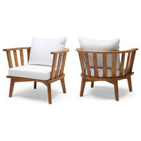 Dean Outdoor Wooden Club Chair With Cushions, Set of 2