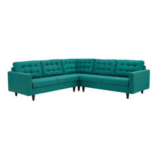DYLAN 3 PIECE UPHOLSTERED FABRIC SECTIONAL SOFA/TEAL