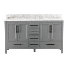 "Kendall Gray Bathroom Vanity, 60"", Vanity With Top"