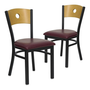 Top Reviews Set Of 2 Hercules Series Black Circle Back Metal Restaurant  Chairs, Burgundy By