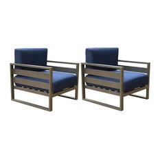 Parmer Aluminum Patio Club Chair With Cushion,Set of 2, Blue Olefin
