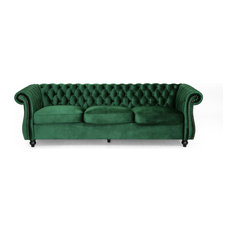 GDFStudio - Vita Chesterfield Tufted Jewel Toned Velvet Sofa With Scroll Arms, Emerald - Sofas
