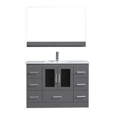 Virtu Usa Inc. - Virtu Zola Single Bathroom Vanity, Gray, Polished Chrome Faucet, Mirror - Bathroom Vanities and Sink Consoles