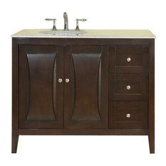 """45"""" Modern Single Sink Bathroom Vanity, Carrara White Marble Top"""