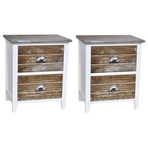 Traditional Set of 2 Bedside Cabinets, Painted Wood, 2 Storage Drawers, Brown