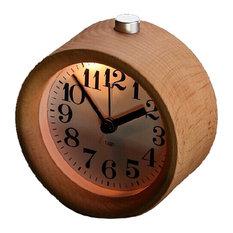 Glomarts Round Wooden Silent Desk Alarm Clock with Nightlight