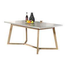 MOD   Alaska Modern Extendable Dining Table, Light Gray And Beige   Dining  Tables