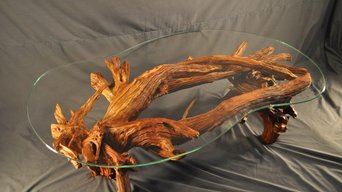 Lacquered driftwood & glass coffee table