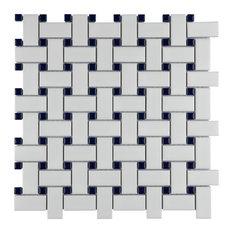 SomerTile Metro Basketweave Porcelain Mosaic Floor and Wall Tile, Matt