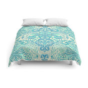 Society6 Botanical Geometry Nature Pattern in Blue Mint Comforter, 88x88