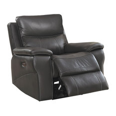 Faux Leather Upholstered Wooden Recliner With Split Cushion Gray