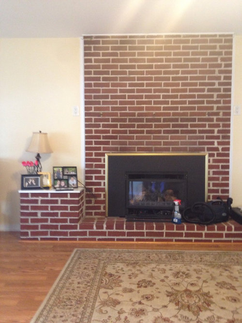 What Would You Do To Update This Fireplace Quick And Whitewash Paint Or Just New Mantle The Br Trim Wall Rug Will Be