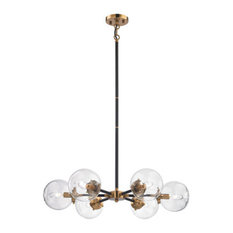 Chandelier 6-Light With Matte Black Antique Gold, 28""