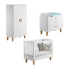 Lounge Scandi 3-Piece Baby Set, Cot Bed, Chest and Wardrobe