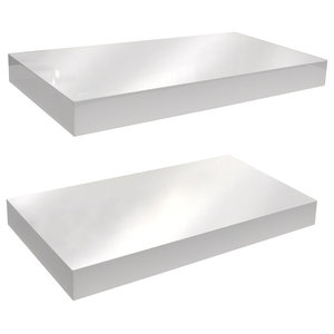 Gloss Wall Mounted 40 cm Floating Shelves, Pack of 2, White