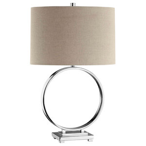 "Gienah Ghurab Table Lamp 17"" Steel 1-Light, Chrome"