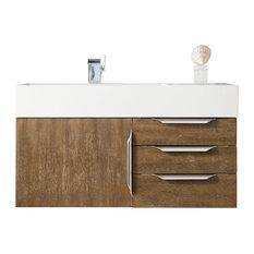 """Mercer Island 36"""" Single Vanity, Latte Oak/Brushed Nickel, Glossy White Top"""