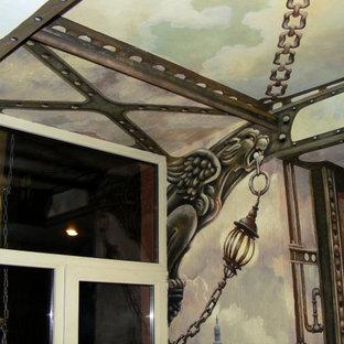 Aménagement d'un escalier droit de taille moyenne avec des marches en acrylique, des contremarches en béton, un garde-corps en métal et un mur en parement de brique.