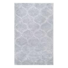 "Handmade Trellis Soft and Plush Solid Shag Rug, Gray, 7'6""x9'6"""