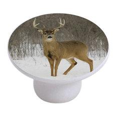 Deer in Snow Ceramic Cabinet Drawer Knob