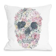 """""""Dia Muertos Skull Flowers"""" Indoor Throw Pillow by OneBellaCasa, 18""""x18"""""""