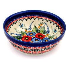 "Polish Pottery 7"" Stoneware Bowl Hand-Decorated Design"