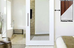 """White Lacquered  Mahogany Mirror Solid Wood Barn Door with Hardware, 48""""x84"""" Inc"""