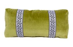 Olive Green Greek Key Lumbar Pillow