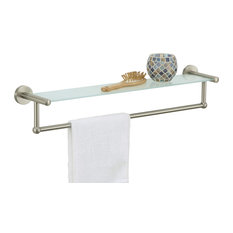 Glass Shelf With Towel Bar, Satin Nickel