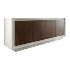 Frame 4-Door Sideboard, White and Dark Oak