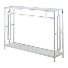Convenience Concepts Town Square Glass Top Console Table In Chrome