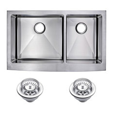 Corner Radius 60/40 Double Bowl Apron Front Sink With Drains And Strainers