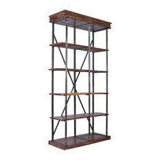 Georgia Industrial Bookshelf, Silver Brushed Gray, Rustic Pine Shelves