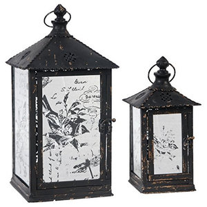 Metal Lantern With Etched Glass Panel Set Of 2 Farmhouse Candleholders By Fantastic Decor Llc