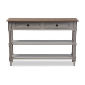 Edouard Distressed Two-Tone 2-Drawer Console Table, Gray and Light Brown