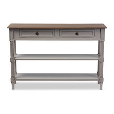 baxton studio edouard distressed twotone 2drawer console table white and