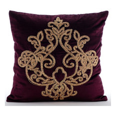 Zardozi Damask Purple Euro Shams Covers Velvet 26x26 Pillow Lord Pharaoh