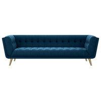 Freja Mid Century Navy Blue Velvet Sofa