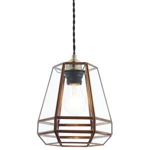 Stockheld Non Electric Shade, Antique Solid Brass, Clear Glass