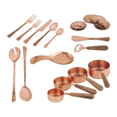 Copper Utensil Kitchen Set Of 18 Made Of Copper/Teak Wood In A Copper/Teak