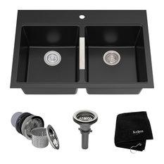 """Kraus USA, Inc. - KRAUS 33"""" Dual Mount 50/50 Granite Kitchen Sink, Black Onyx With Strainers - Kitchen Sinks"""