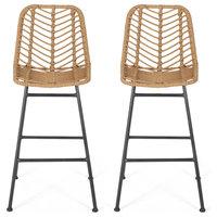 Jessie Outdoor Wicker Barstools, Set of 2, Brown