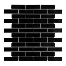 SomerTile Metro Brick Subway Porcelain Mosaic Floor/Wall Mosaic Tile, Black
